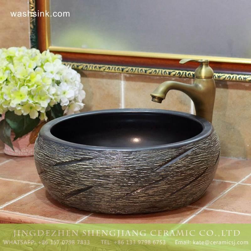 Carved knife stroke China wholesale price porcelain wash hand basin for real estate