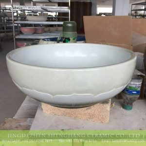 TPAA-215 Jiangxi JDZ honed lotus petal white porcelain basin