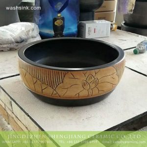 TPAA-217 Jingdezhen made China style hand carved lotus pattern black wall mounted porcelain washbasin