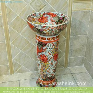 TXT-N02A-1 Ceramic capital hot sell Indonesia style fantastic floral porcelain toilet pedestal sink