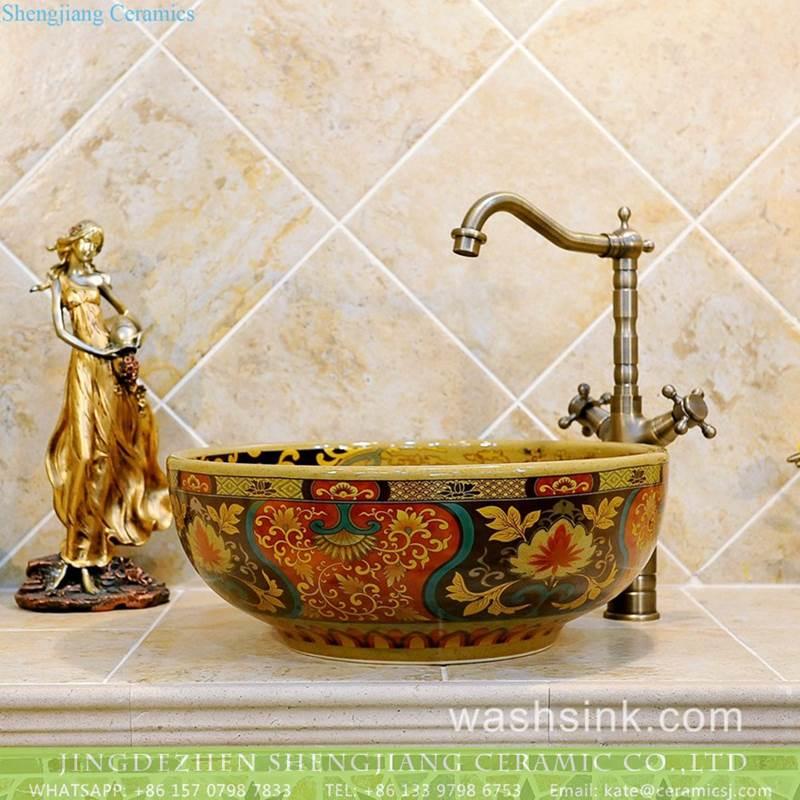 JDZ colorful round ceramic antique ceramic basin