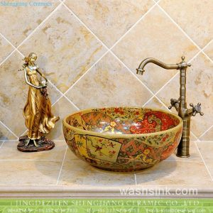 TXT06B-4 JDZ China bird floral pattern artistic ceramic sink with components