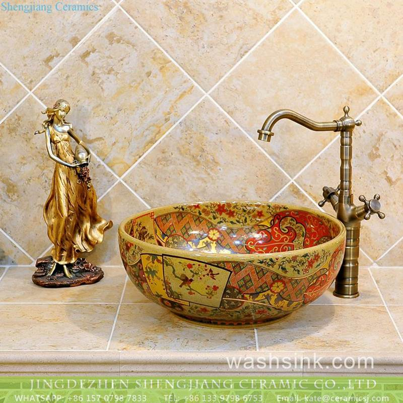JDZ China bird floral pattern artistic ceramic sink with components