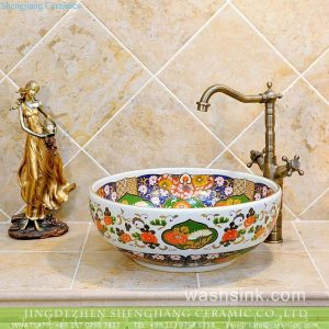TXT07A-5 China wholesale price chrysanthemum pattern porcelain vintage corner sink