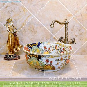 TXT09A-5 Fashionable Jingdezhen China octagonal hand made floral porcelain bathroom sanitary ware