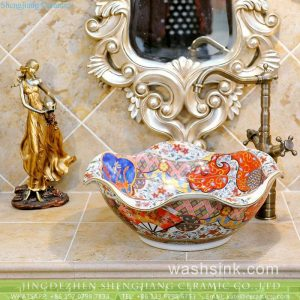 TXT10A-5 Factory cheap price floral rim handmade ceramic sink for washing accessories