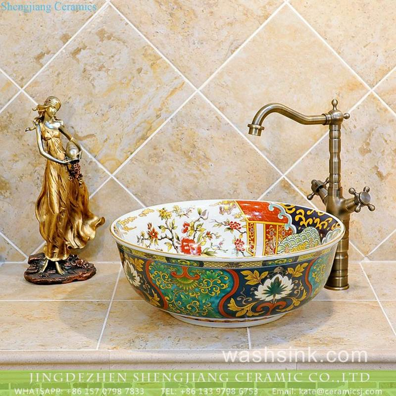 Asia style royal pattern ceramic bathroom art basin