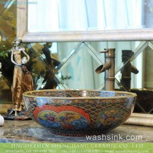 TXT175-3 China high quality floral porcelain Victorian sink