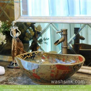 TXT178-3 Made in Jingdezhen floral large ceramic vessel sink