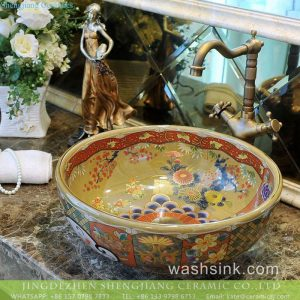TXT179-3 Porcelain city Jingdezhen produce shinny chrysanthemum pattern round old fashioned wash bowl and pitcher
