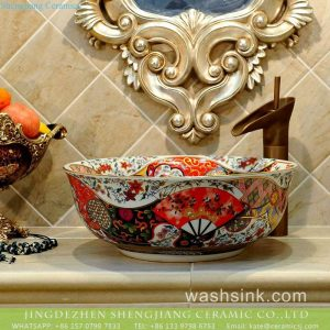 TXT17A-4 Factory price Jingdezhen hand made floral fan pattern enamel wash basin wholesale