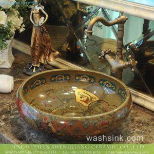 TXT180-3 India hot sale golden secret garden pattern China supply ceramic washroom sink