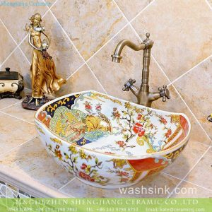TXT19A-3 Jingdezhen wholesale price large piece phoenix floral pattern oval counter top porcelain wash basin