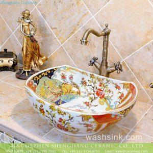 TXT19A-3 Jingdezhen wholesale price large piece phoenix floral pattern oval counter top porcelain wash basin
