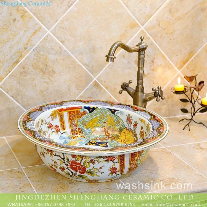 China made wide rim floral phoenix pattern vintage porcelain sink