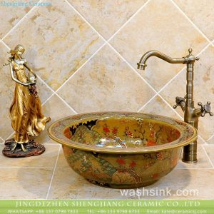 TXT20B-2 Jingdezhen artistic hand made caramel color floral small corner sink