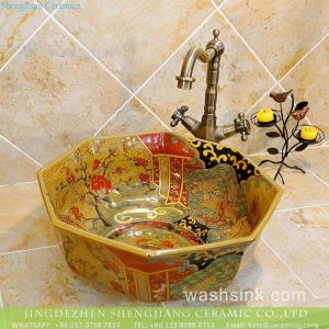 TXT22B-2 Large bulk sale India style octagonal loyal ceramic interior design basin for washing hand