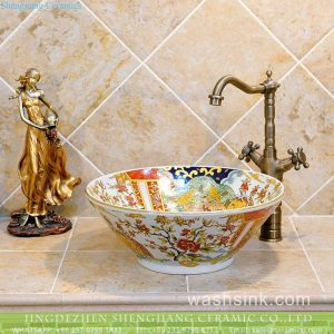 TXT24A-4 Popular sale item Jingdezhen Shengjiang factory outlet flared mouth colorful ceramic wash face sink