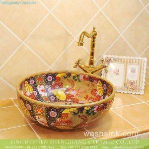 TXT33B-3 Jingdezhen factory local cheap price floral modern ceramic counter top sink