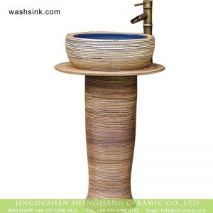 XHTC-L-3003 American luxury handicraft pedestal pottery wash hair basin