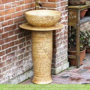 XHTC-L-3004 New product 2018 hand craft carved lotus garden vanity ceramic wash hand basin with foot