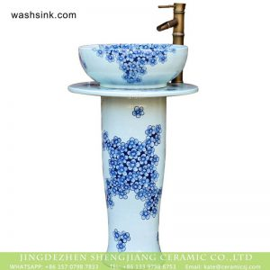 XHTC-L-3007 Jingdezhen bathroom sanitary ware blue and white floral porcelain pedestal basin set