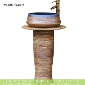 XHTC-L-3009 China wholesale price wooden kiln style ash glaze outdoor ceramic pedestal wash sink