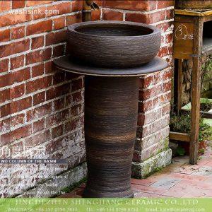 XHTC-L-3012 Jingdezhen traditional dark coffee color ceramic column bathroom sink