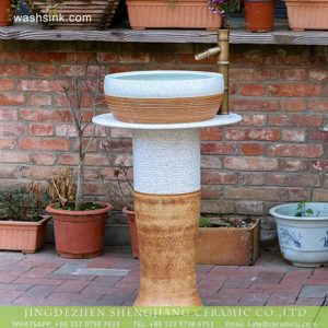 XHTC-L-3015 American hot sale modern mixed white and yellow ceramic column basin bowl