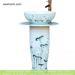 XHTC-L-3016 Jingdezhen art lotus pattern large porcelain washing room sanitary ware