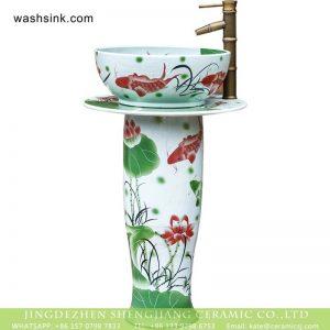 XHTC-L-3019 Jingdezhen wholesale supplier hand paint red carp and lotus pattern porcelain column wash basin bowl