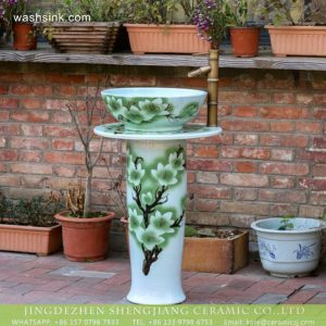 XHTC-L-3023 Jingdezhen produce high quality hand carved floral porcelain outdoor garden wash sink with pedestal