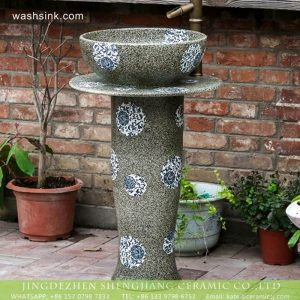 XHTC-L-3024 New model Jingdezhen manufacture produce grey color blue and white floral porcelain pedestal wash hair lavatory basin