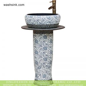 XHTC-L-3026 Jingdezhen China traditional factory price porcelain pedestal art basin