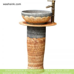 XHTC-L-3036 Chinese traditional hand carve petal design outdoor pottery pedestal art sink bowl