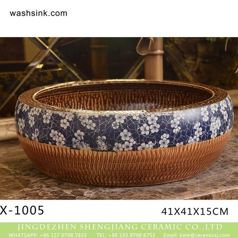 China traditional high quality bathroom ceramic atique carving wintersweet pattern wash basin