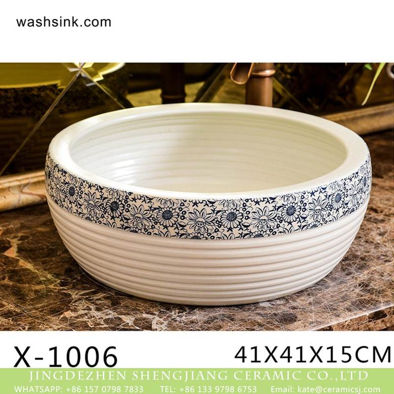 Chinese factory direct art ceramic spiral pattern and beautiful printing wash basin