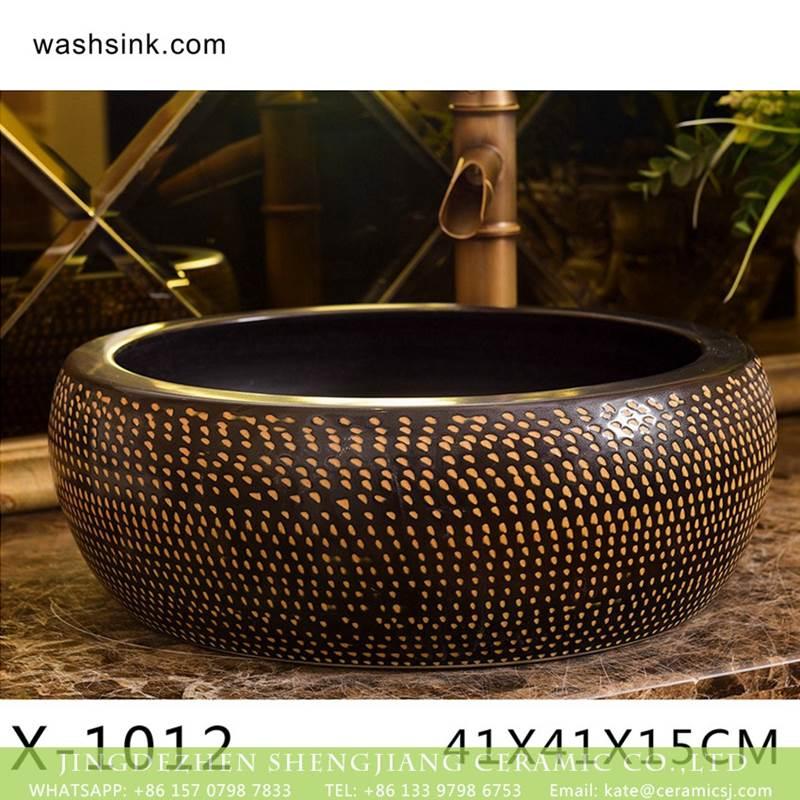 Jingdezhen wholesale brown bottom with yellow point art ceramic sanitary ware