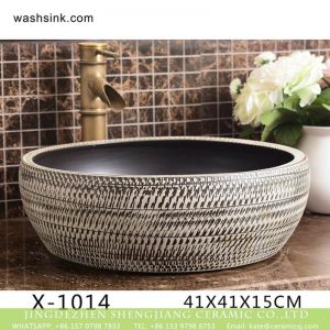 XHTC-X-1014-1 China traditional high quality ceramic black and white color wash sink basin