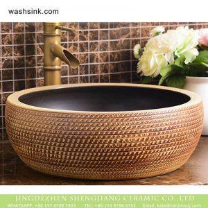 XHTC-X-1016-1 Jingdezhen factory direct square fashional retro ceramic brown stripes art wash hand basin