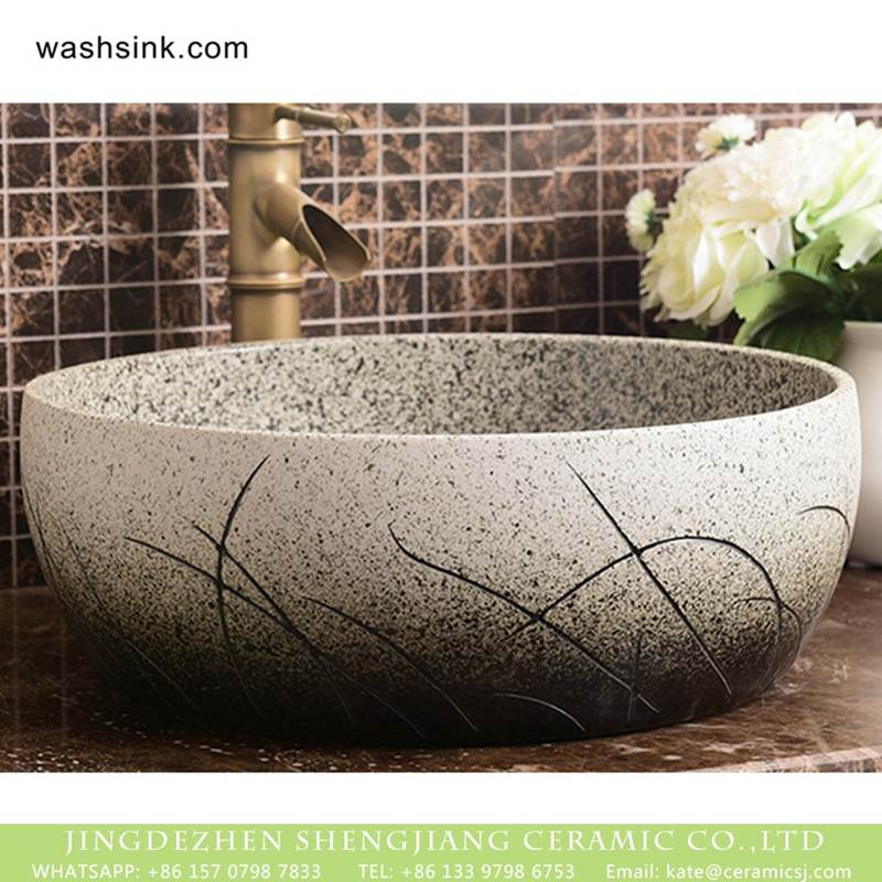 Shengjiang factory porcelain imitating marble carved ceramic toilet basin