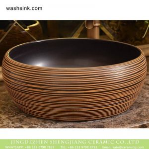 XHTC-X-1019-1 China traditional high quality bathroom ceramic brown and black stripes sanitary ware