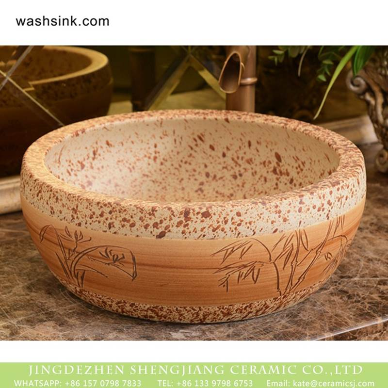 Shengjiang factory porcelain antique round brown spots with willow pattern sink bowl