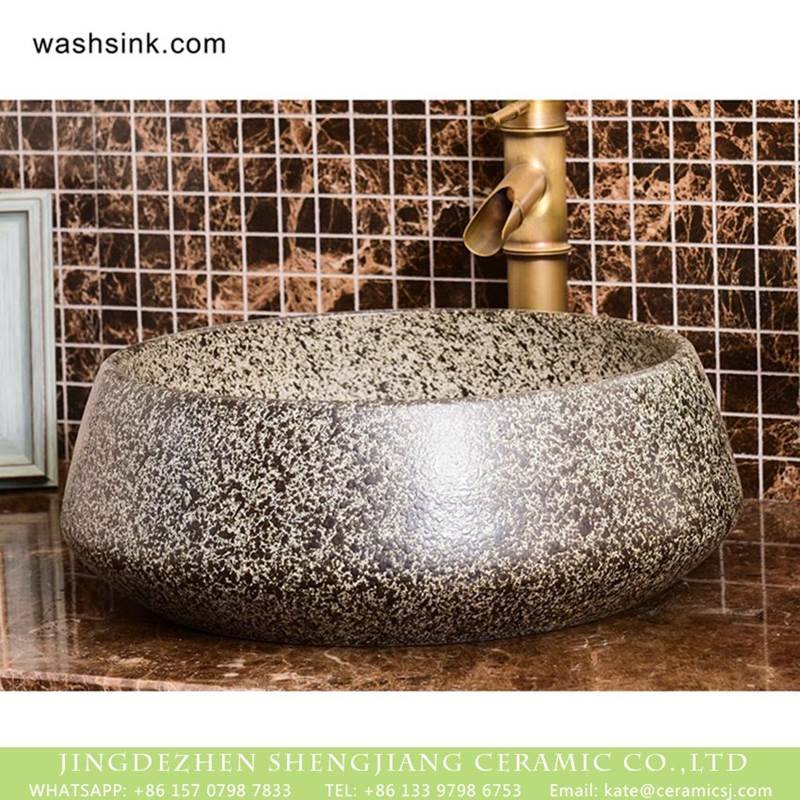 Factory direct wholesale art ceramic glazed curved black spots toilet basin