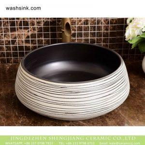 XHTC-X-1035-1 Hot Sales special design porcelain irregular black lines bathroom sink bowl