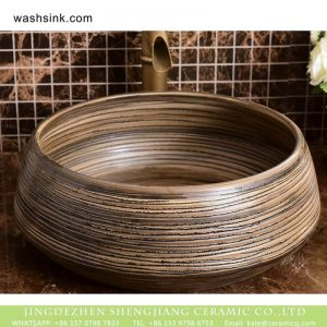 XHTC-X-1037-1 China traditional high quality bathroom ceramic brown stripes wash basin