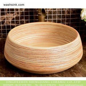 XHTC-X-1041-1 Chinese factory direct art ceramic the wood color striation bathroom washing sink