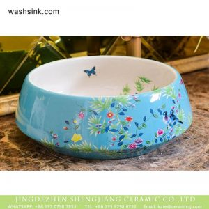XHTC-X-1042-1 Hot Sales special design light blue with beautiful flowers sanitary ware
