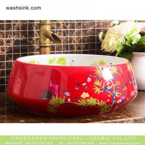 XHTC-X-1043-1 Shengjiang factory direct very smooth ceramic with light red color and flowers pattern wash basin