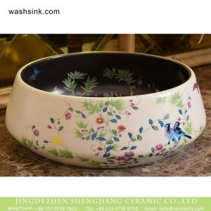 XHTC-X-1045-1 Chinese factory direct black and white art ceramic with beautiful printing sink bowl